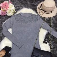 Đầm len phối đá Quảng Châu
