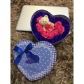 hoa hồng sap hộp trái tim kèm gấu