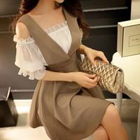 Đầm yếm bẹt vai nâu - 5495.SETZO