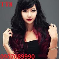 tóc giả nữ mái xéo uốn nhuộm TT8