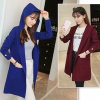 hàng nhập loại 1 -  áo khoác len phối nón Hàn Quốc hd2340
