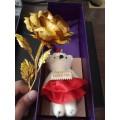 Hoa hồng 24k kèm gấu bông ngộ nghĩnh