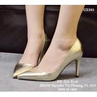 Giày cao gót mũi nhọn trơn ánh kim vàng nhạt-GX393