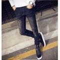 Quần jeans nam vá đùi phong cách trẻ - bò đen