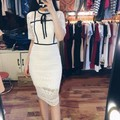 Đầm suông phối ren  BOW LACE DRESS