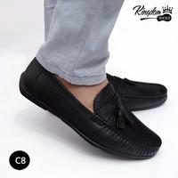 Giày lười da bò khóa chuông da trăn - C8