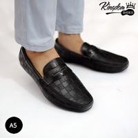 Giày mọi in dập vân da bò thật thời trang - A5