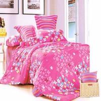 Bộ ga giường cotton Hồng nhí