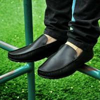 giày mọi trơn da thật