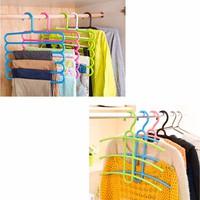 Combo 1 móc treo nhựa 5 tầng và 1 móc treo áo thông minh NC503