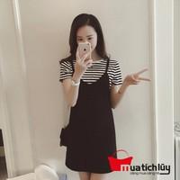 MTL - Set Đầm yếm kèm áo thun sọc