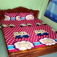 Bộ gia giường minion 1m6 x 2m Chấm bị hồng- TTSHOP