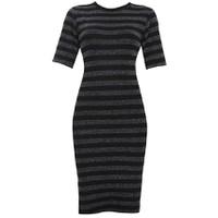 Áo váy đầm len mỏng dáng form dài midi ngắn tay cổ tròn kẻ ngang