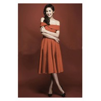 Đầm Xòe Vintage Trễ Vai Đẹp Như Tăng Thanh Hà D353
