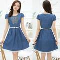 Đầm jean xòe thêu nổi họa tiết bướm xanh phối chân váy ren TP140-744