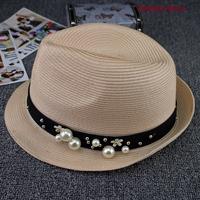 nón vành Hàn Quốc mũ rơm mùa hè đính ngọc trai