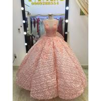 áo cưới hồng lông chim