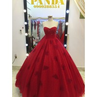 áo cưới đỏ tùng ren đuôi 50cm mẫu có sẵn