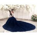 áo cưới xanh đuôi dài 3m áo co sẵn