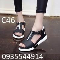 Giày sandal nữ phối dây kéo cao cấp C46