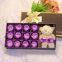 Quà tặng 20 -10  Hoa hồng sáp thơm 12 bông kèm gấu 12247