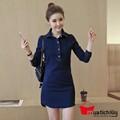 MTL - Đầm jean suông phối túi tay dài