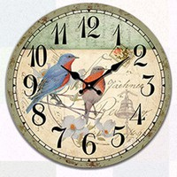 Đồng hồ gỗ đôi chim