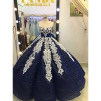 áo cưới tùng múi xanh ren trắng màu cho mua noel 2016