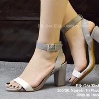 Sandal gót vuông quai ngang phối màu xám trắng 7p-GX398