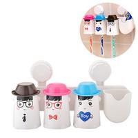 Dụng cụ lấy kem đánh răng gia đình kèm 3 ca đựng bàn chải