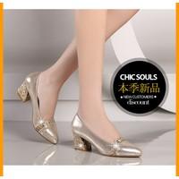 Giày cao gót đế vuông Gold-YT243
