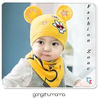 bộ đôi nón và khăn ăn mùa thu 2016 nón trumg đầu tai Mickey cho bé