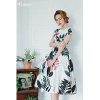 Đầm xòe gấm in họa tiết 3d kèm hình thật