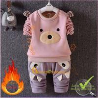 Hàng nhập-Bộ quần áo giữ ấm bé gái bé trai lót lông cừu GLSET013