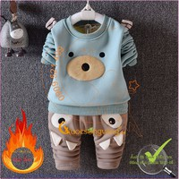 Hàng nhập-Bộ quần áo giữ ấm bé gái bé trai lót lông cừu GLSET012
