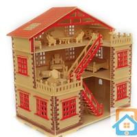 Bộ Đồ Chơi Gỗ Xếp Hình 3D Nhà 3 Tầng