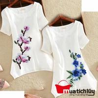 MTL - Áo form dài thêu hoa Mina