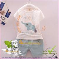 Hàng nhập - Bộ quần áo mùa hè bé gái bé trai GLSET014