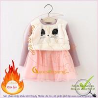 Váy đầm bé gái đẹp lót lông giữ ấm GLV026