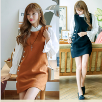 Hàng nhập_Đầm suông dạ phối nút thời trang _Phong cách Hàn Quốc_D22