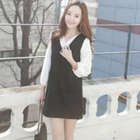 Hàng nhập_Đầm suông cổ V phối áo sơ mi _Phong cách Hàn Quốc_D24