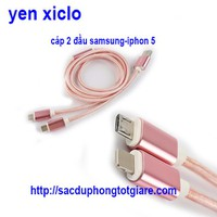 Cáp sạc 2 Đầu Samsung-Iphon 5
