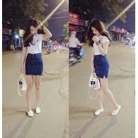 chân váy jean xanh