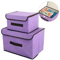 Combo 2 hộp vải khung cứng đựng đồ đa năng - Màu tím