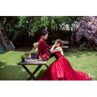 áo cuoi yếm đỏ sọc