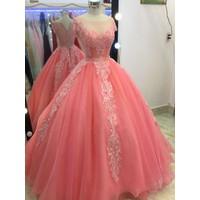 áo cưới hồng dau tay con,co sẵn nhiều màu tung to giá mềm mại
