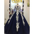 áo cưới xanh mực tay dài ren trắng hàng có sẵn giá mêm rẻ