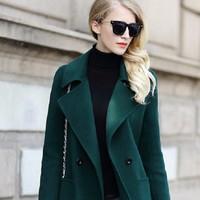 Áo khoác dạ nữ Green dây nơ