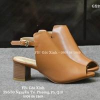Giày sandal gót vuông hở mũi kiểu boot 5p màu bò-GX396