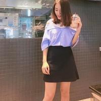 set áo bẹt vai kèm chân váy ngắn cực yêu Shoulder Dress